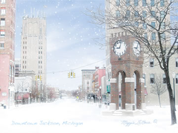 Downtown Jackson Michigan Clocktower art print