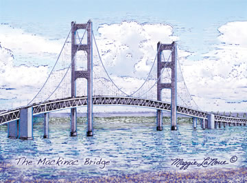 Mackinac Bridge Full Color Giclee Print