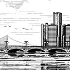 View of Belle Isle and Bridge, Detroit Michigan
