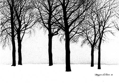 Trees- giclee print - line art by Maggie LaNoue