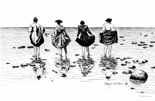 Bay Waders Old Fashioned Ladies walking into lake