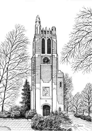 Beaumont Tower, Michigan State University, Art by Maggie LaNoue
