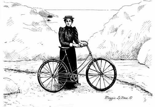 Old time girl bicyclist