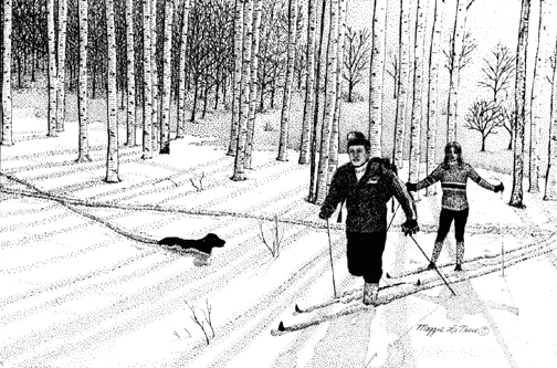 Skiiers with dog