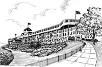 Grand Hotel side view, Mackinac Island Michigan